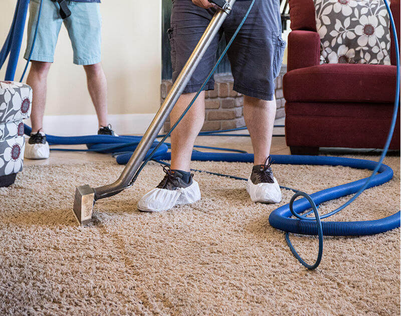 capets being cleaned in st george ut by two men with carpet scrubbers